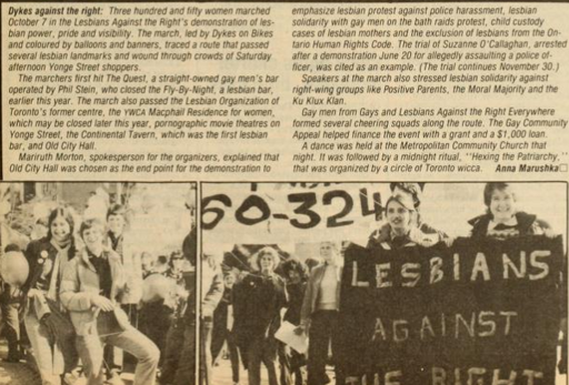 QueerEvents.ca - Queer History - History of Dyke March - image of body politic dykes against right Oct 1981 article