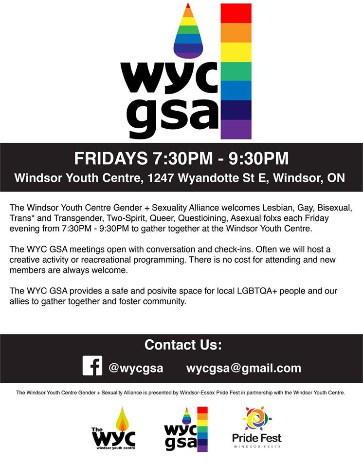QueerEvents.ca - Windsor Youth Centre GSA - Event Poster