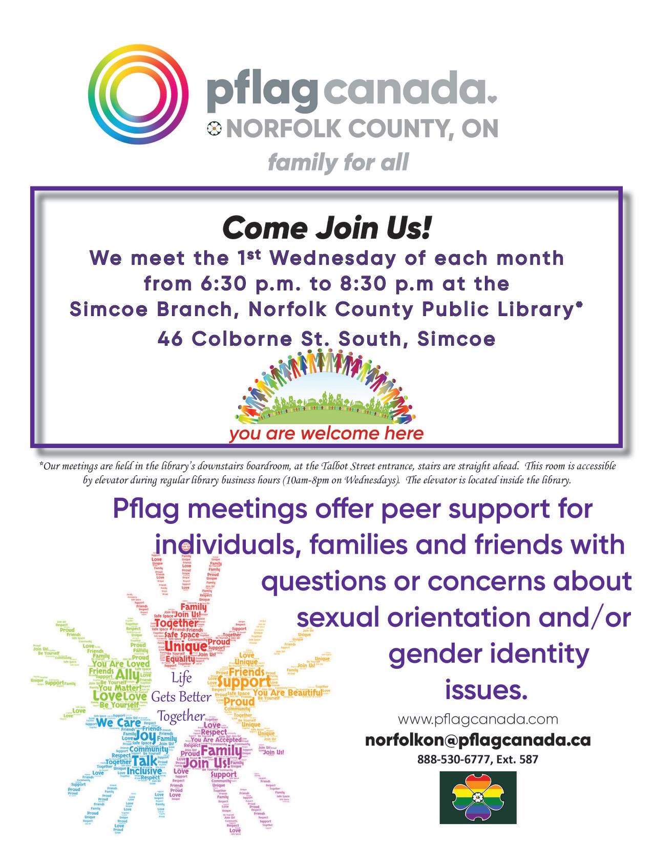 QueerEvents.ca - Norfolk County Event Listing - PFLAG Monthly Support Group Poster