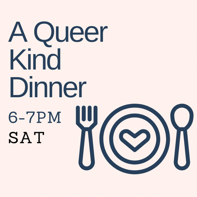 QueerEvents.ca - virtual event listing - a queer kind dinner poster
